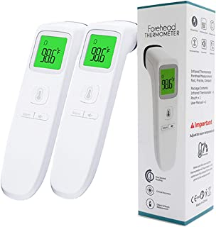 2 Pack Forehead Thermometer, Digital Infrared Non-Contact Temporal with Instant Accurate Reading,Fever Alarm and Memory Function – Ideal for Babies, Infants, Children, Adults, Indoor,Outdoor (White)