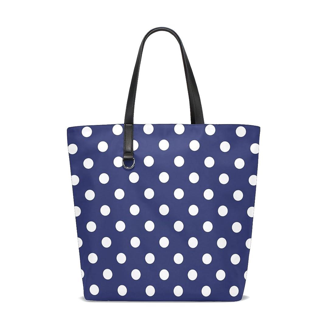 識別執着コーラストートバッグ かばん ポリエステル+レザー  セーラー紺色に白いドット柄 両面使える 大容量 通勤通学 メンズ レディース