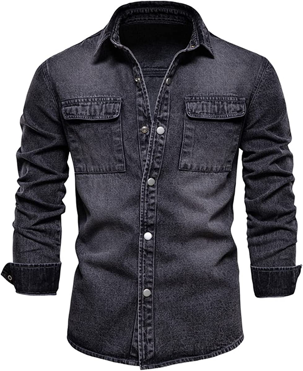 100% Cotton Denim Jacket Men's Casual Solid Color Pocket Thin Jacket Style Spring Clothing
