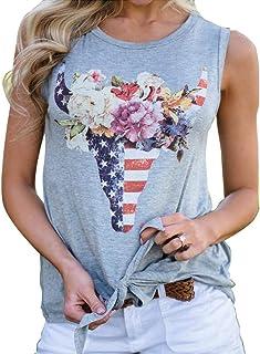 YCQ 女性のカジュアルなブルヘッドフローラルグラフィックプリントフロントネクタイベストベストTシャツトップス 人気