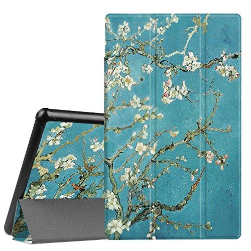 Fintie Hülle für Das Neue Amazon Fire HD 10 Tablet (9. & 7. Generation - 2019 & 2017) - Slim Cover Lightweight Schutzhülle Tasche mit Standfunktion & Auto Schlaf/Wach Funktion, Mandelblüten