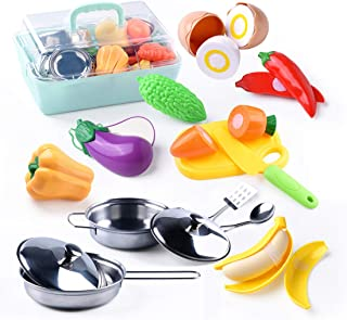 XPEP Pretend Play Kitchen Toys, Stainless-Steel Toy Pots and Pans, Mini Utensils with Plastic Play Cut Vegetables with Safe Knife and Chopping Board
