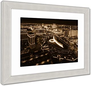 Ashley Framed Prints The Las Vegas Strip As Seen from The Cosmopolitan Hotel with View onto Bellagio, Wall Art Home Decoration, Sepia, 34x40 (Frame Size), Silver Frame, AG6422257