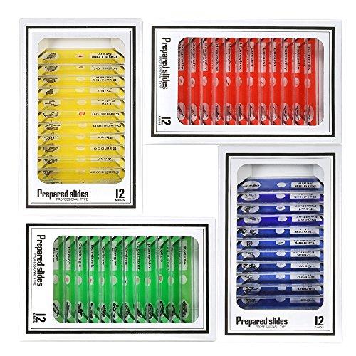 KKmoon 48pcs / set Vetrini per Microscopio Preparati in Plastica Animali Insetti Piante Campioni di Campioni Diapositive con Etichette Colorate per Bambini Studenti