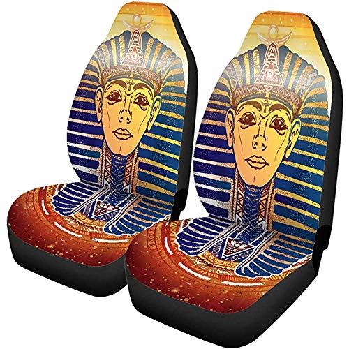 TABUE 2 stuks autostoelhoezen van Egyptisch goud Pharao uit het oude Egypte Esoteric Tutanchamun Golden masker stoelbescherming geschikt voor auto, SUV limousine, vrachtwagen