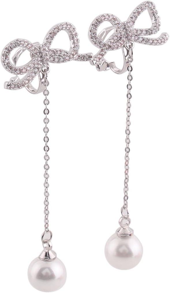GRACE JUN Platinum Plated AAA CZ Bowknot Clip on Earrings Without Piercing for Women Long Pearl Earrings