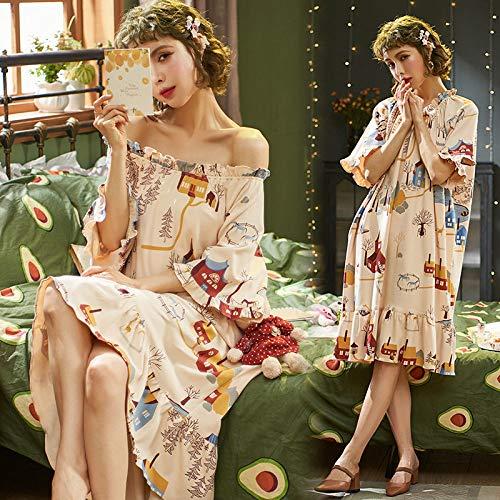 Ensemble Pyjama Femmes,Maison D'Été Doux Coton Cute Cartoon Occasionnels D'Impression Grande Taille Chemise De Nuit Confortable Lâche Accueil Vêtements Peuvent Être Portés À L'Extérieur,Ph