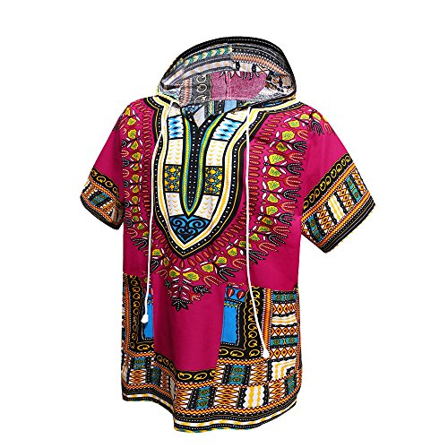 Orang Dashiki-Shirt im afrikanischen / indianischen Stil, traditionelle Kleidung, Unisex mit Kapuze, Einheitsgröße Gr. Einheitsgröße, hot pink