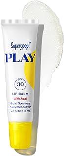 Supergoop! PLAY Lip Balm SPF 30 with Acai، 0.5 fl oz - Reef Safe، Broad Spectrum SPF Lip Balm with honey hydrating، کره Shea ، روغن دانه آفتابگردان - مواد پاک کننده - مناسب برای روزهای فعال