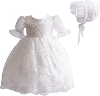 Romping House Newborn Girls 2Pcs Floral Lace Christening Gown Baptism Dress with Ruffle Bonnet
