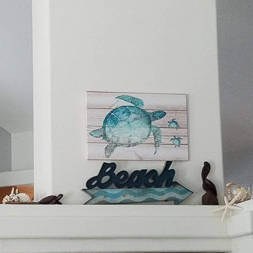 SUMGAR Turtle Wall Art Nautical Bathroom Accessories Teal Sea Turtles Pictures Duck Egg Blue Canvas Prints Shabby Chic Green Beach Rustic Ornaments Turquoise Ocean Funny Toilet Artwork 60x40cm