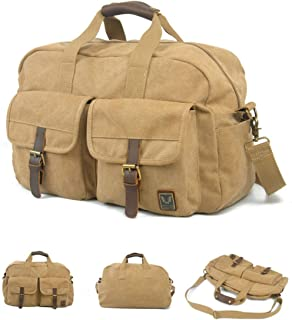 Large Capacity, Waterproof and Wearable Duffel Bag, Retro Multi-Functional Canvas Shoulder Bag, Work Bag, Handbag, 19 Inches, Classic Multi-Color Optional, Travel Storage Essential, (Color : Brown)