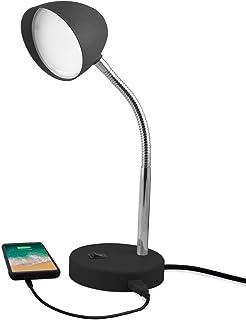 MaxLite LED Desk Lamp with USB Charging Port, Black Desk Lamp, Adjustable Neck, On/Off Switch, Modern Table Lamp for Reading, Work or School, Warm Gentle Light