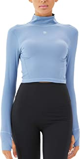 Womens Seamless Crop Top Long Sleeve Layer Crew Neck Yoga Top with Thumbholes