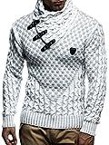 Leif Nelson Herren Strick-Pullover Strick-Pulli mit Schalkragen Moderner Woll-Pullover Langarm-Sweatshirt Slim Fit LN5255 Ecru Grau Medium