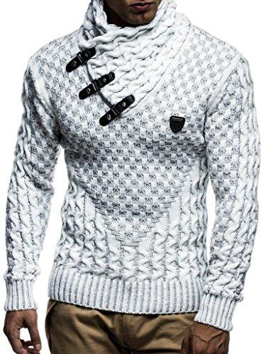 Leif Nelson Herren Strick-Pullover Strick-Pulli mit Schalkragen Moderner Woll-Pullover Langarm-Sweatshirt Slim Fit LN5255 Ecru Grau Large