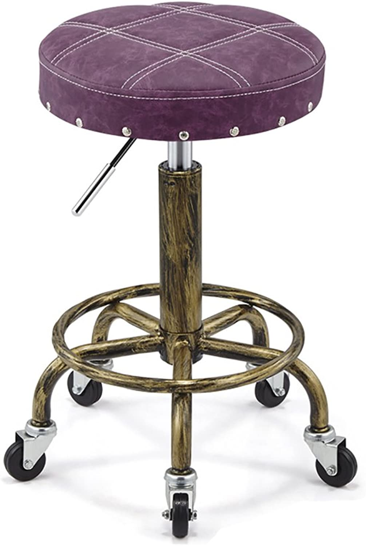Nationwel@ Swivel Bar Kitchen Breakfast Bar Stools Chair for Kitchens,Professional Salon Equipment (color   Purple, Size   H64cm)