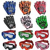 Leopard Kinder Motocross Grün Handschuhe (M - 6cm) und Brille Cross Motorrad Quad Off-Road für Youth