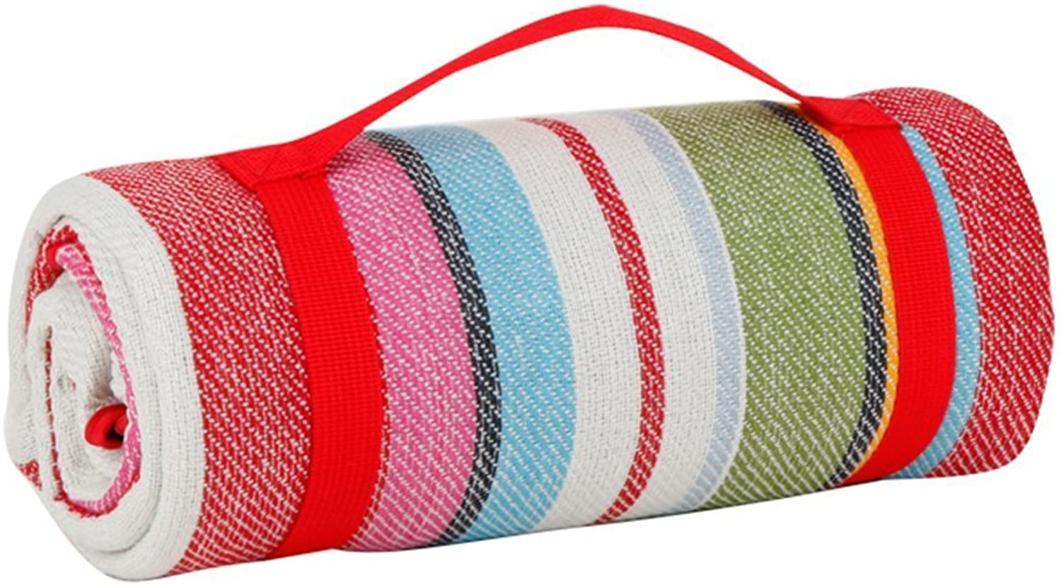 Oops Style Foldable Picnic Blanket Tote Rug Waterproof with Shoulder Strap Beach Camping Outdoor Blanket Mat 59''x 53'' Red Stripe