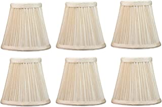 Upgradelights 5 Inch Pleated Empire Clip On Chandelier Lamp Shade in Cream 3x5x4 (Set of Six)