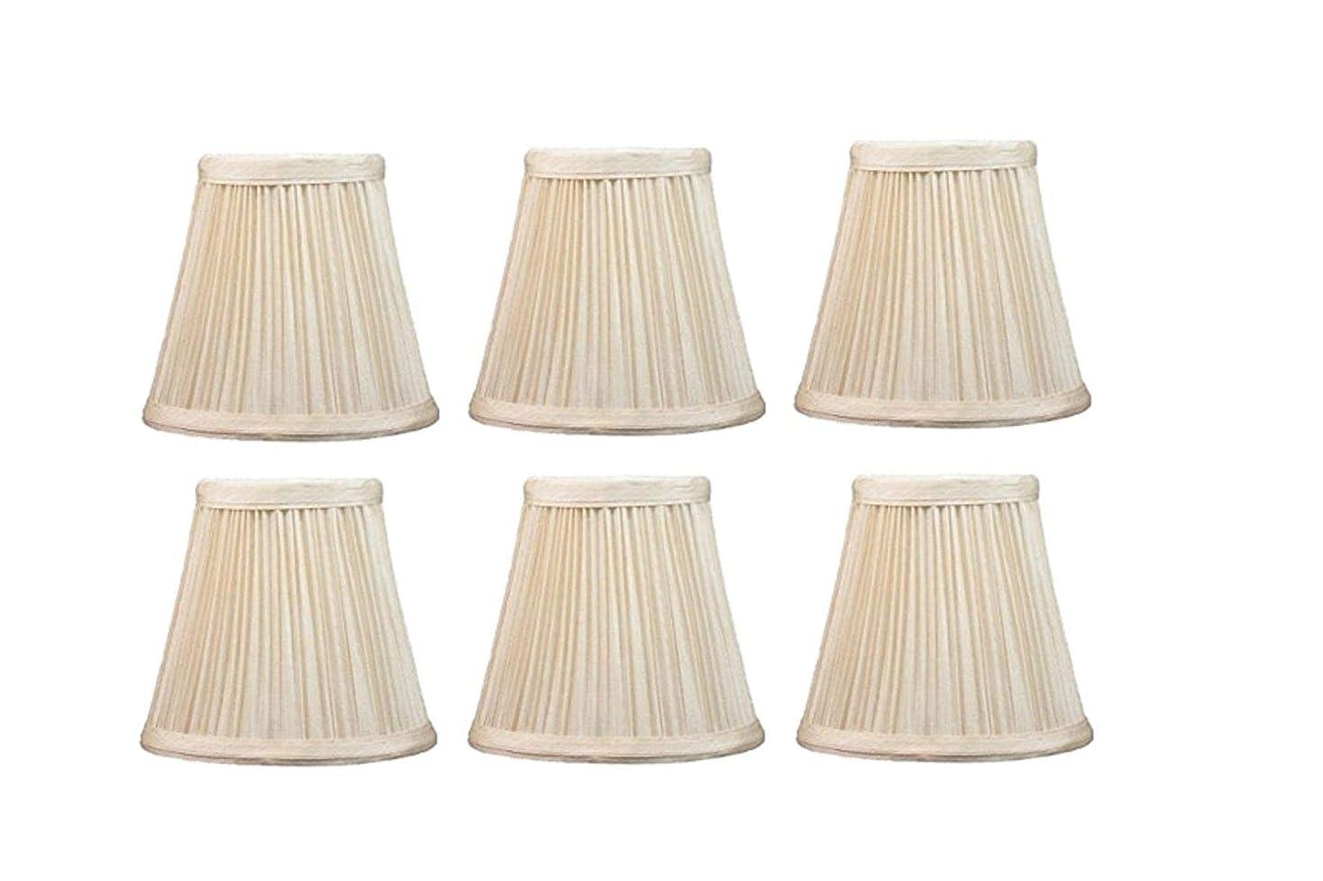 上昇子供達すみませんUpgradelights 5インチ プリーツ エンパイア クリップオン シャンデリア ランプシェード クリーム色 3x5x4 (6個セット)