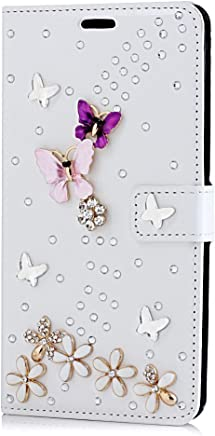 STENES Motorola Moto X Pure Edition Case, Luxurious 3D Handmade Sparkle Rhinestone PU Leather Credit Holder Flip Cover Wallet With Retro Bowknot Anti Dust Plug - S-Link Butterfly Flowers/Purple