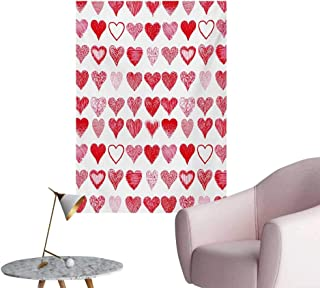 Anzhutwelve Valentines Day Wall Picture Decoration Hearts Collection Symbols of Love Hand Drawn Style Romantic ArtVermilion Pink White W24 xL36 Space Poster