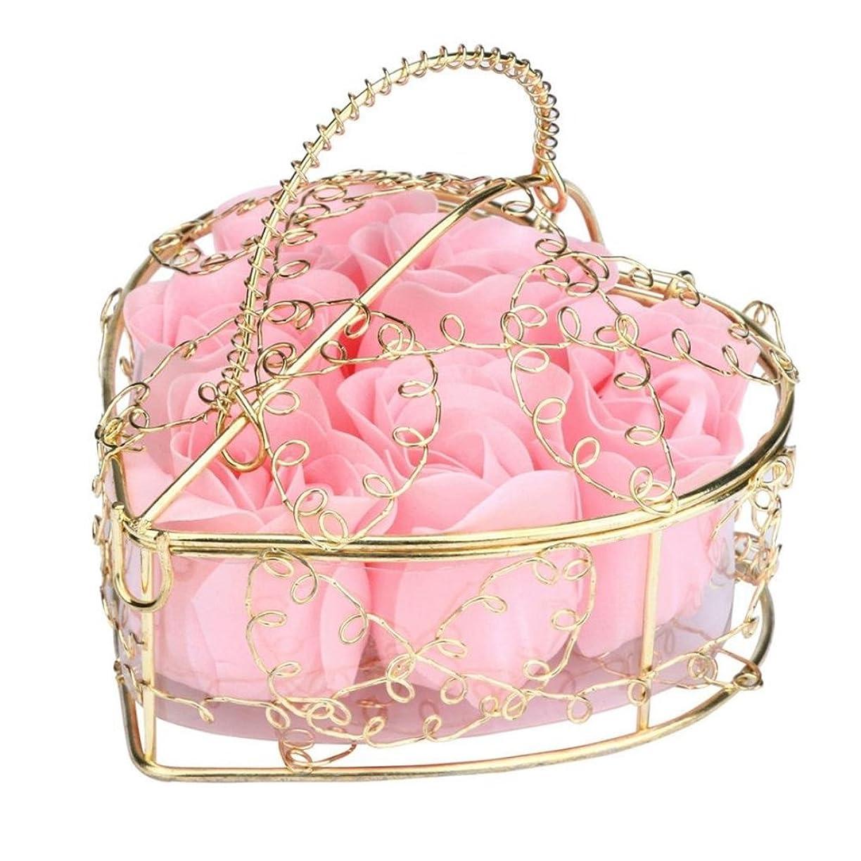 海賊発信煙SODIAL 6個の香り付きローズフラワー 花びらバス ボディソープ ウェディングパーティーギフト ホームDIYデコレーション(ピンク)