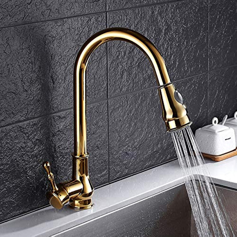 Wasserhahn Gold Europische Einfache Küche Einhand-Wasserhahn Hochwertige Pull-Typ Waschbecken Warmes Und Kaltes Wasser Wasserhahn 360 Umdrehung