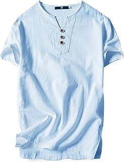 [エムエルーセ] カジュアル Tシャツ 半袖 3ボタン リネンシャツ 綿麻 秋 秋冬 ヘンリーネック ビジネス 無地 6 カラー M - 4XL メンズ