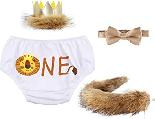 Baby Boys 1st 2nd Birthday Outfit Cake Smash Lion Bloomers Suspender Bowtie Headband Tail Costume Wild ONE Photo Props