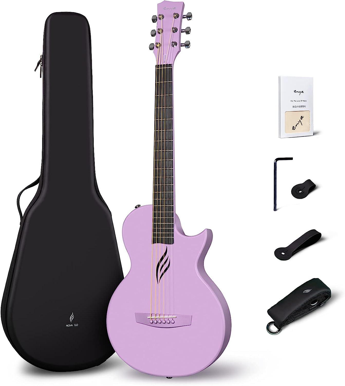 Enya Nova Go - Kit de iniciación de guitarra acústica moldeada integral de fibra de carbono de 33 pulgadas con estuche de guitarra y correas de guitarra(Púrpura)