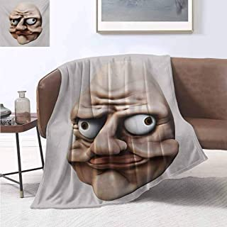jecycleus Humor Children's Blanket Grumpy Internet Troll Face with Trippy Gestures Ugly Post Meme Joke Image Lightweight Soft Warm and Comfortable W60 by L70 Inch Egg Shell and Tan