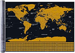 Large Size Scratchable World Map Travel Mark Map Wall Art Scratch Off Map of The World with Scratcher Tool and Brush
