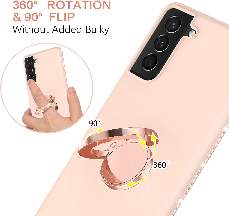 BENTOBEN Galaxy S21 Case, Samsung S21 Case, Slim Silicone | 360° Ring Holder Kickstand | Rhinestone Bumper Shockproof Women Girls Protective Phone Case for Samsung Galaxy S21 5G 6.2