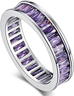 Veunora 925 Sterling Silver Created Amethyst Filled Eternity Wedding Band Ring for Women