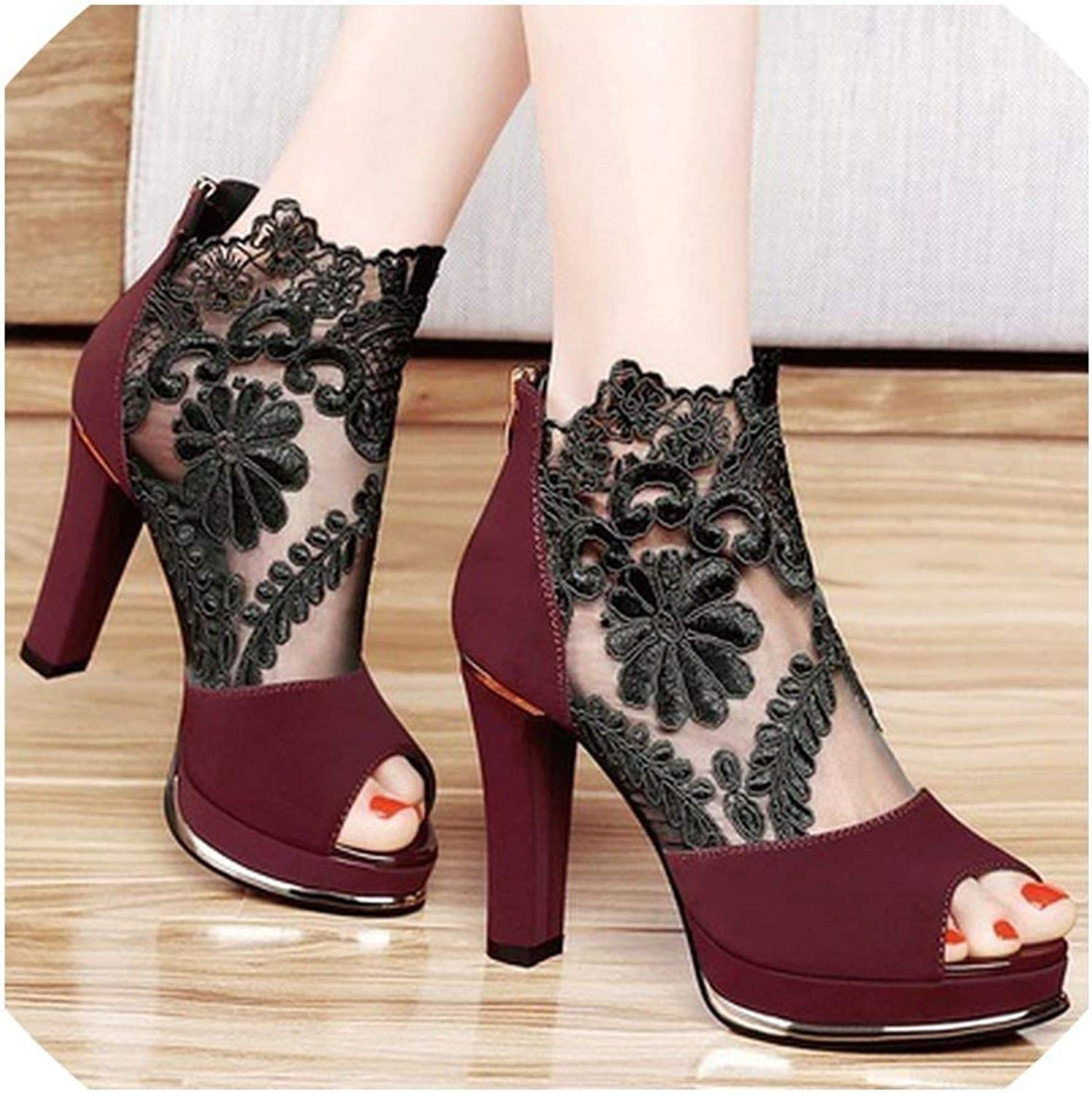 Sexy Gauze Thick Fish Head Sandals with A Sole High Heels shoes Ankle Boots Women shoes Sandals