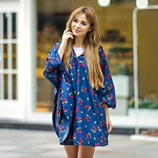 YUDILI YY Raincoat Adult Fashion Cherry Poncho Thicken Travel Casual (L) yuyiting (Color : B, Size : L)