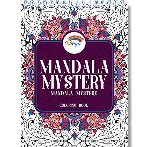 Mandala Malbuch für Erwachsene - Mandala Mystery von Colorya - Malen nach Zahlen Erwachsene Buch mit Spiralbindung, A4 Künstlerpapier Papier, kein Durchdrücken, Einseitiger Druck