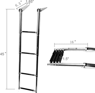 """NovelBee 4 Step Boat Boarding Ladder Stainless Steel Telescoping Extendable Ladder with Retaining Strap for Marine Yacht Swimming Pool (6.5"""" Hinged Bracket)"""