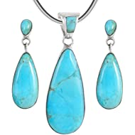 Sterling Silver Genuine Turquoise Necklace & Earrings Matching Set (Choose Style)