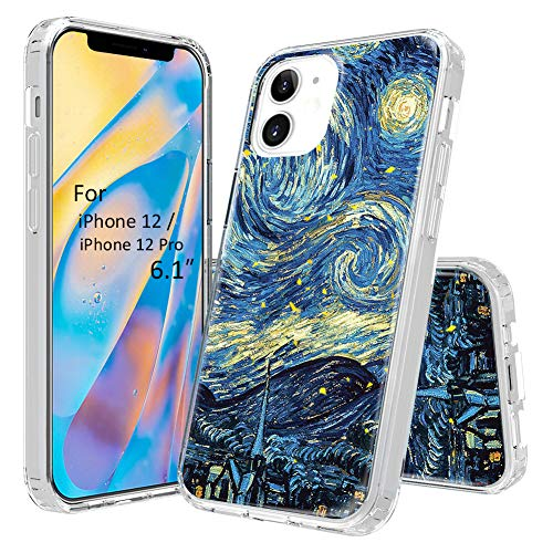 CEESLIAN Compatible with iPhone 12 Pro Case, Compatible with iPhone 12 Case, 6.1' Transparent TPU Bumper + Hard PC Back Shockproof Glossy Clear Shiny Bling Case - Starry Night