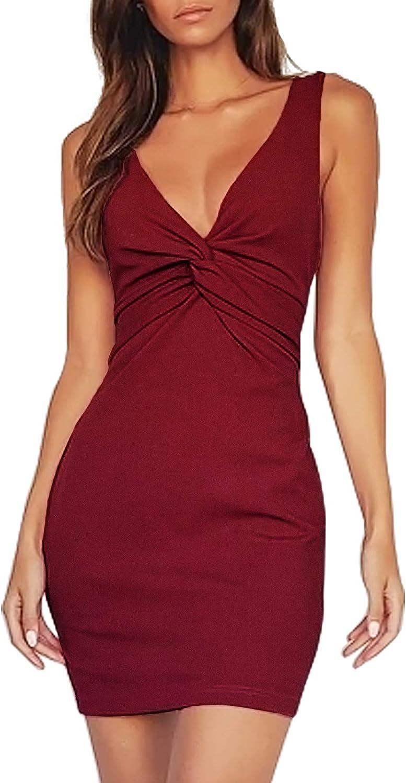 AOOKSMERY Women's Sexy Sleeveless Deep V Neck Ruched Twist Party Club Bodycon Mini Dress