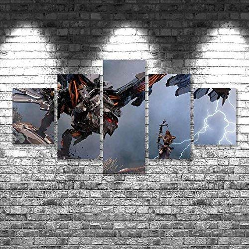 Canvas Prints Canvas Pictures XXL 5 Pieces Horizon Zero Dawn 02 – Gaming HD Printed 5 Pieces Canvas Wall Art Painting Modular Wallpaper Poster Print Modern Living Room Home Decor-100*55cm-Marco