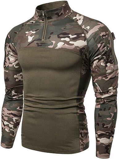 Camisa táctica de manga larga con cremallera de 1/4 para hombre, estilo militar, con bolsillos, parte superior de airsoft, ropa al aire libre, para ...