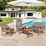 Tangkula 4 PCS Acacia Wood Patio Furniture Set, Outdoor Seating Chat Set with Gray Cushions & Back Pillow, Outdoor Conversation Set with Coffee Table, Ideal for Garden, Backyard, Poolside