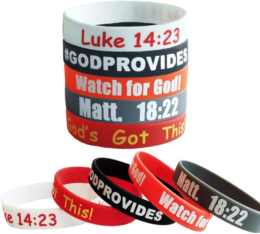 MasGo 20 Sale item Max 83% OFF Pack Christian Silicone Sayings Wristbands Religious Ru