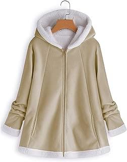 Jacket Women's Curved Hem Longline Faux Fur Sherpa Fleece Hoodie Coat Outwear Parka Cardigan