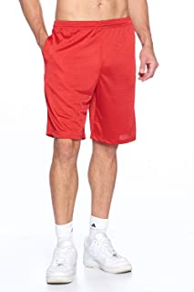 ProGo Men's Athletic Moisture-Wicking Long Mesh Short Pants with 2 Side Pockets
