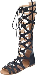 Summer Women Casual Flats Lace Up Knee High Gladiator Sandals Roma Shoes Zipper Strappy Roma Sandals